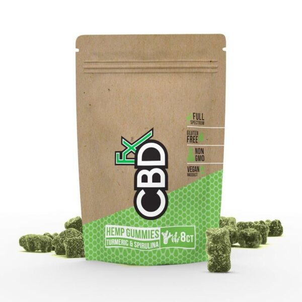 cbd-kafe,CBD Gummies with Turmeric & Spirulina 40mg (8ct Pouch),CBDFX,Full Spectrum